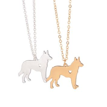 German shepherd silhouette with heart hole necklace