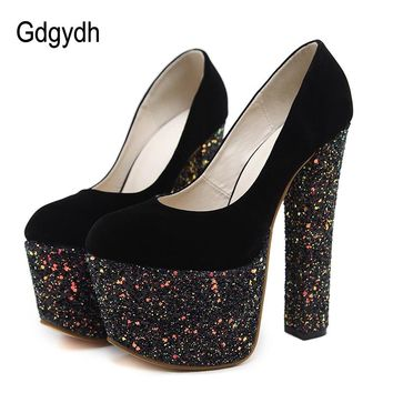 Gdgydh Sexy Women's Shoes High Heels 16cm Spring Autumn Fashion Bling Ladies Wedding Shoes Rubber Sole Women Pumps Platform