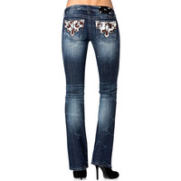 Miss Me Women's Western Pony Hide Boot Cut Jeans
