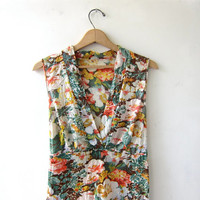 Vintage floral dress / 70s floral sundress / summer empire waist dress