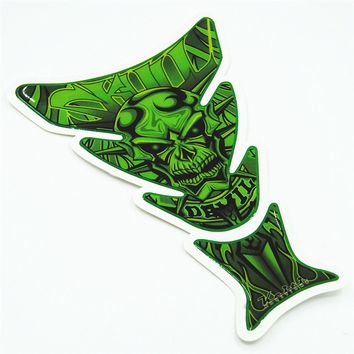 Motorcycle Anti Scratch Self-Adhesive Fuel Tank Pad Protector Sticker Soft Green Skull For Hon CBR Yama R1