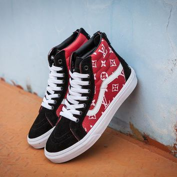 Vans x Supreme x Lv SK8-Hi Red High Top Men Flats Shoes Canvas Sneakers Women Sport Shoes