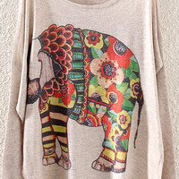 Beige Elephant Printed Sweater