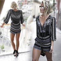 Black Geometric Printed V-Neck Romper