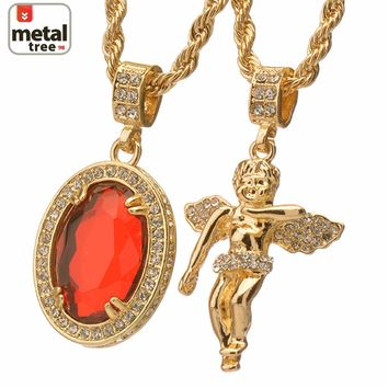 Jewelry Kay style Men's G / S Plated  Angel & Oval Red Ruby Stone Pendant Chain Set Necklace MHC10