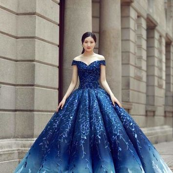 100%real luxury leaf royal court blue barcoque cosplay ball gown medieval dress Renaissance gown queen Victorian Belle Ball gown Macchar Cosplay Catalogue