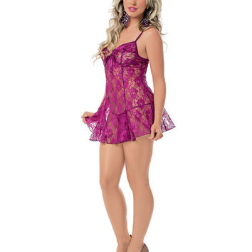 Lace Chemise W-underwire Cups, Adjustable Straps & G-string Grape Lg