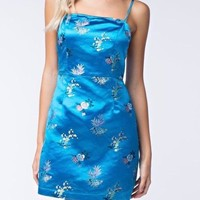 satin dream floral mini dress - aqua