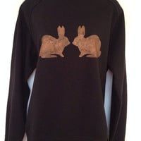 Bunnies sweatshirt - low co2, Eco friendly, ethical, hand stencilled