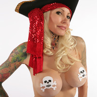 Skull: White and Black Skull & Crossbones Nipple Pasties
