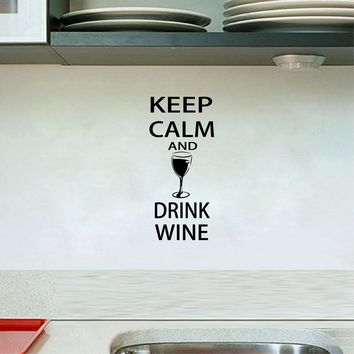 Free Shipping Wall Decals Bar Wall Sticker -  Keep Calm and Drink Wine - Funny Bar pub Wall Art Decor