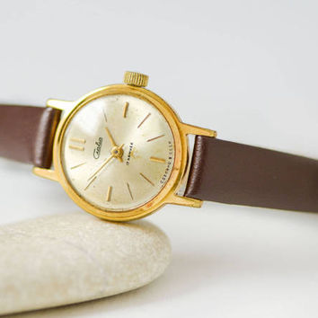 Ladies watch Glory, gold plated woman wristwatch, dress watch, shock proof woman watch, classy girl's watch gift, premium leather strap new