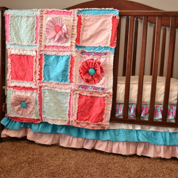 Custom Ruffled Crib Skirt, Pink and Turquoise, OR You Design, Made to Order, Dust Ruffle