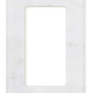Italian Carrara White Marble Single Rocker Switch Wall Plate / Switch Plate / Cover - Polished