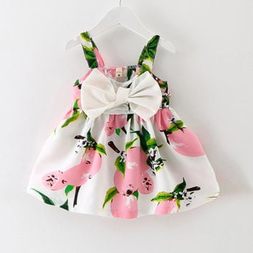 2018 New Baby Dress Infant girl dresses Lemon Print Baby Girls Clothes Slip Dress Princess Birthday Dress for Baby Girl