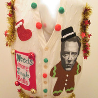 Christopher Walken Hilarious Ugly Christmas Sweater Vest Needs more Jingle Bells From Saturday Night Live Skit Size large FAST SHIPPING !!