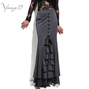 CREYET7 Young17 Skirt Long Frilly Women Sexy Fishtail Corset Lace-Up Slim Floor-Length Vintage trumpet sexy gothic style Mermaid skirts