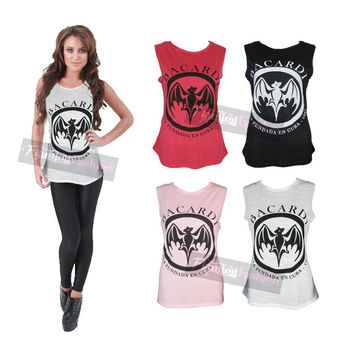 Womens Ladies Bacardi Racer Back Tank Sleeveless Loose Fit Vest Top T-shirt