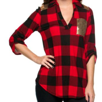 Red & Black Plaid with Gold Sequins