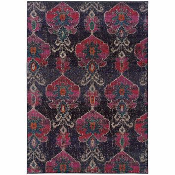 Kaleidoscope Grey Pink Abstract Floral Transitional Rug