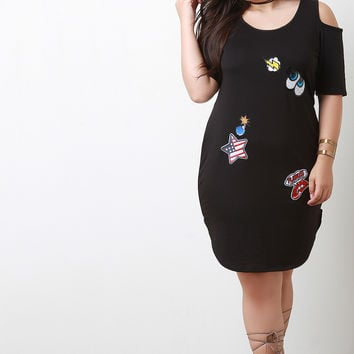 Embroidered Sequin Patches Cold Shoulder Midi Dress