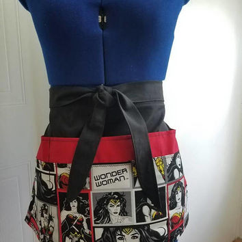 Wonder - woman - Diner - waitress -  donut - shop - coffee - shop - restaurant - pinup - rockabilly - style - half - apron - w/ - pockets