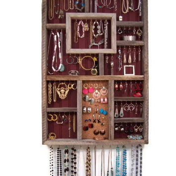 Reclaimed Barn Wood Large Jewelry Organizer