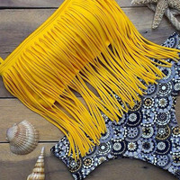 Yellow Tassel Bandeau Bikini Two-piece Swimsuit with Floral Design