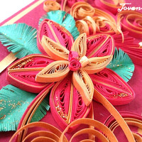 FREE SHIPPING !!! Unique handmade quilling card, Red Gold and Green.