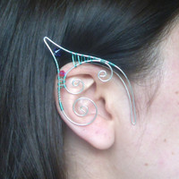 Seafoam Green & Silver Plated Handmade Wire Wrapped Elf Ear Cuffs With Pink And Purple Swarovski Elements. LARP, Cosplay, Nymph Ears