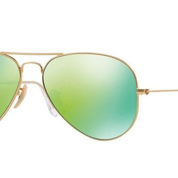 Ray Ban RB3025 Aviator Sunglasses Gold Frame Green Mirror Lens 100% Authentic