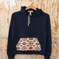 Printed hooded fleece sweater B0014761