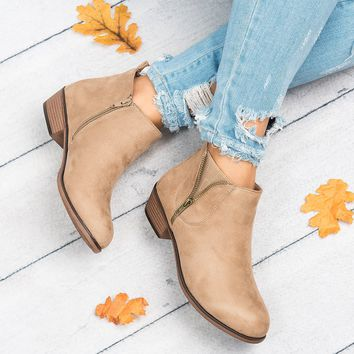 Exposed Zipper Booties - Taupe