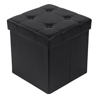 "Songmics 14 7/8"" Upholstered Storage Ottoman Cube Folding Footrest Coffee Table Faux Leather Black ULSF30B"