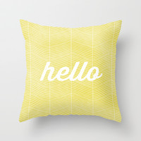 Hello Sunshine Throw Pillow by Twiggs Designs