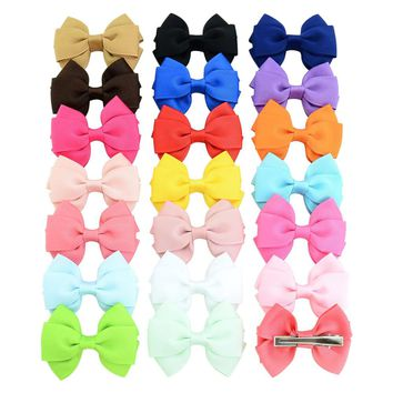 "20 Pcs/Lot Grosgrain 2.5"" Hair Bow Alligator Clips for Baby Girl Toddlers Kids Infant Children Handmade Barrettes Hair Accessories"