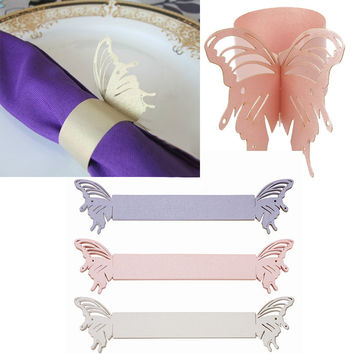 Laser Cut Cards Napkin Rings Wrappers Holders color choice Table Decoration Butterfly Wedding Party Favors Paper Decor #70961