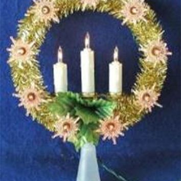 "8"" Lighted Gold Tinsel Wreath with Candles Christmas Tree Topper - Clear Lights"