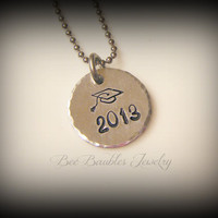 Graduation Gift - Hand Stamped Jewelry Graduation Personalized Necklace - Dainty necklace