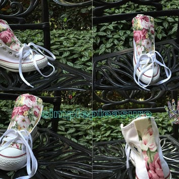 Floral Chucks, Custom Floral Converse High Tops, Custom All Star Sneakers Girls, Customizing Casual Shoes for Women