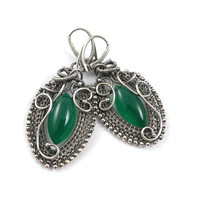 Wire wrapped earring , gree earring , gemstone fine jewelry , sterling silver earring , wire wrap jewelry