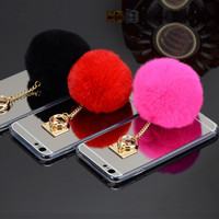 Newest Fashion Luxury Metal Rope Mirror TPU phone Cases Cute Rabbit Fur Ball For iPhone6 6S 6 Plus 5 5S Cover For iphone 6 Case