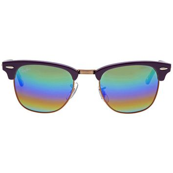 Ray Ban Clubmaster Mineral Green Rainbow Flash Mens Sunglasses RB3016 1221C3 49