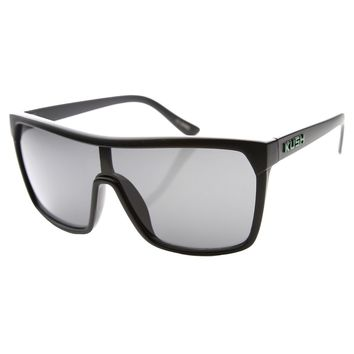 Large Shield Futuristic Styling Smoke Lens Sunglasses