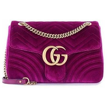 GUCCI trend female models wave pattern suede double G chain bag shoulder bag Messenger bag