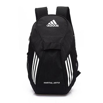 """Adidas"" Popular Women Men Casual Athletic Bag Laptop Bag Shoulder Bag School Backpack Sport Travel Bag Black+White I-ZZZS"