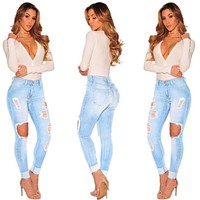 fashion pencil pants women washed Jeans Women Stretch high Waist Skinny hole ripped gradual change Jeans hollow out jeans S-3XL