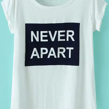 White Short Sleeve NEVER APART Print Graphic T-Shirt