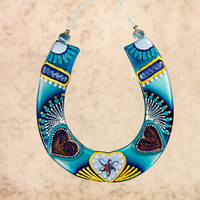 Handmade HORSESHOE GIVING LUCK glass fusing techniques gift lovers fathers mothers sister hasband family amulet talisman