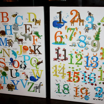 Set of 2 Extra Large ABC 123 Stretched Canvases Baby Nursery CANVAS Bedroom Wall Art 2CS005